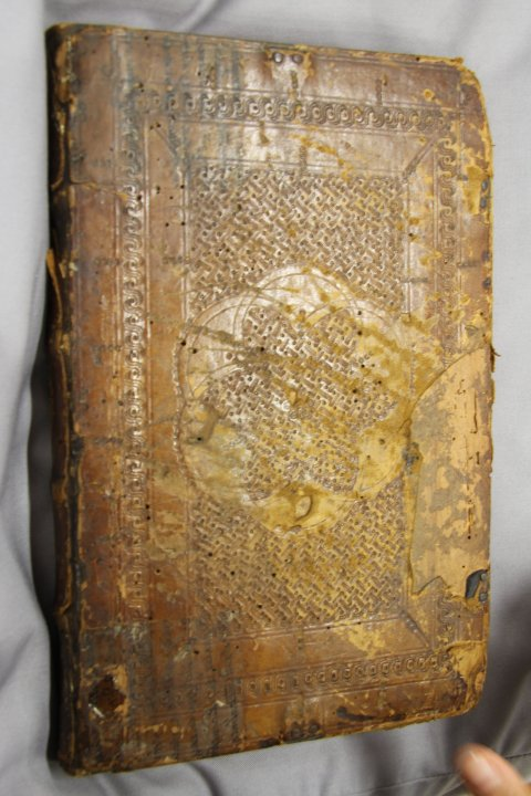 14C leather-bound vellum ms