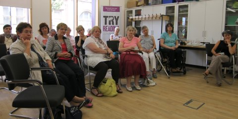 Wakefield Library audience listening to a reading from 'In the Family'