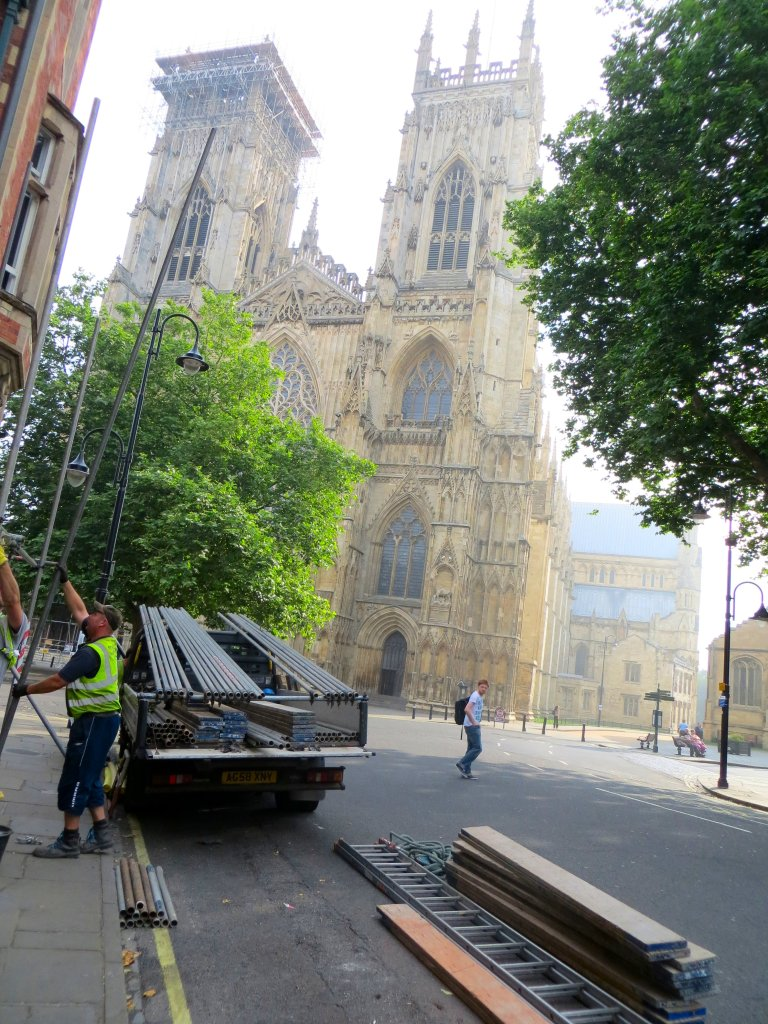 York Minster and scaffolders