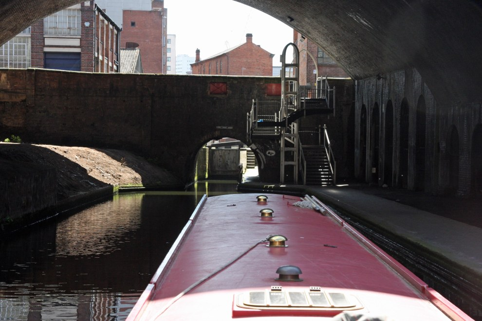 Have to get this... through there...  under Livery Street Bridge and into lock 12.
