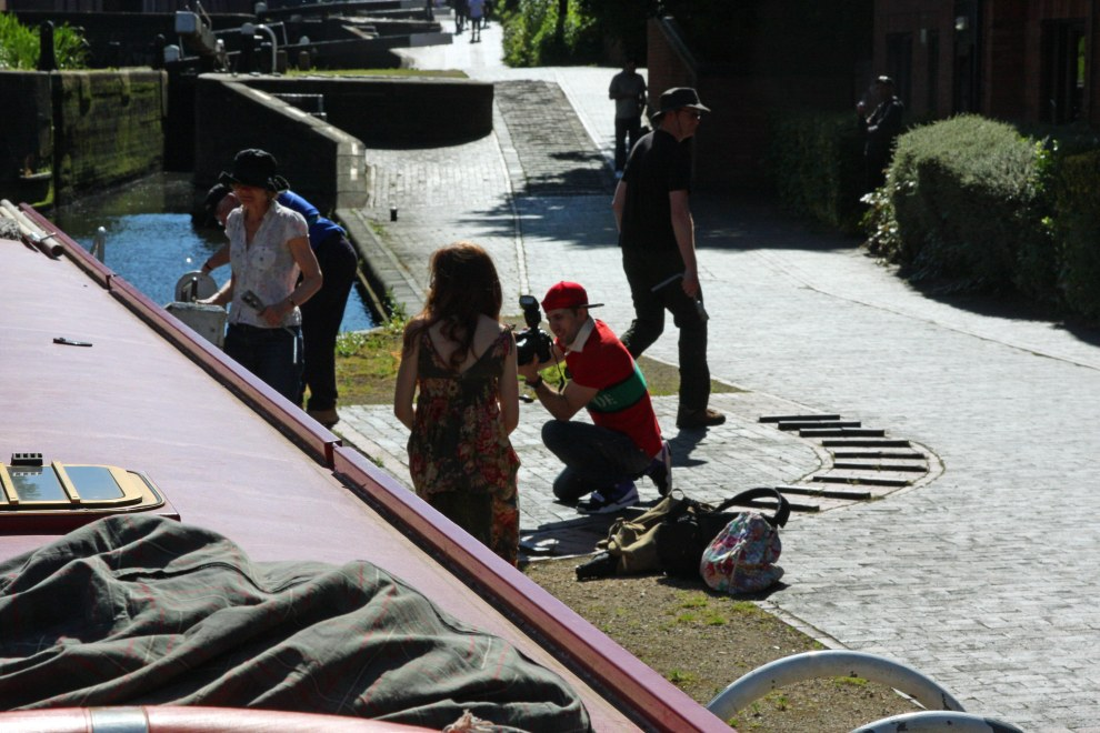 It all happens here: we get caught up in a fashion shoot!  Canals are great locations.