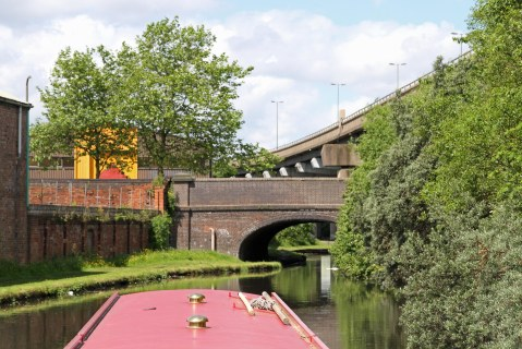 Triple decker - canal, road, motorway.