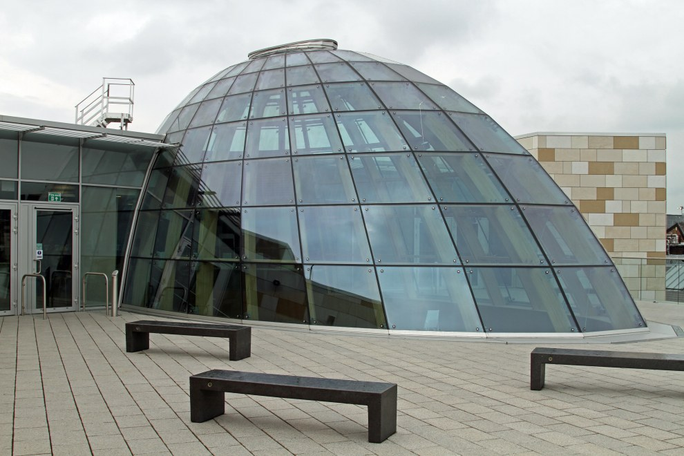 The Liverpool Central Library roof terrace and skylight dome