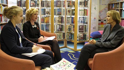 Holly, left, and Eleanor interview me for High Quarterly