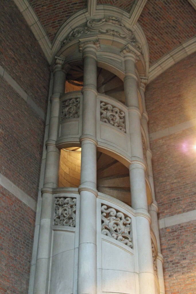 The spiral tower staircase, viewed from the Grand Staircase