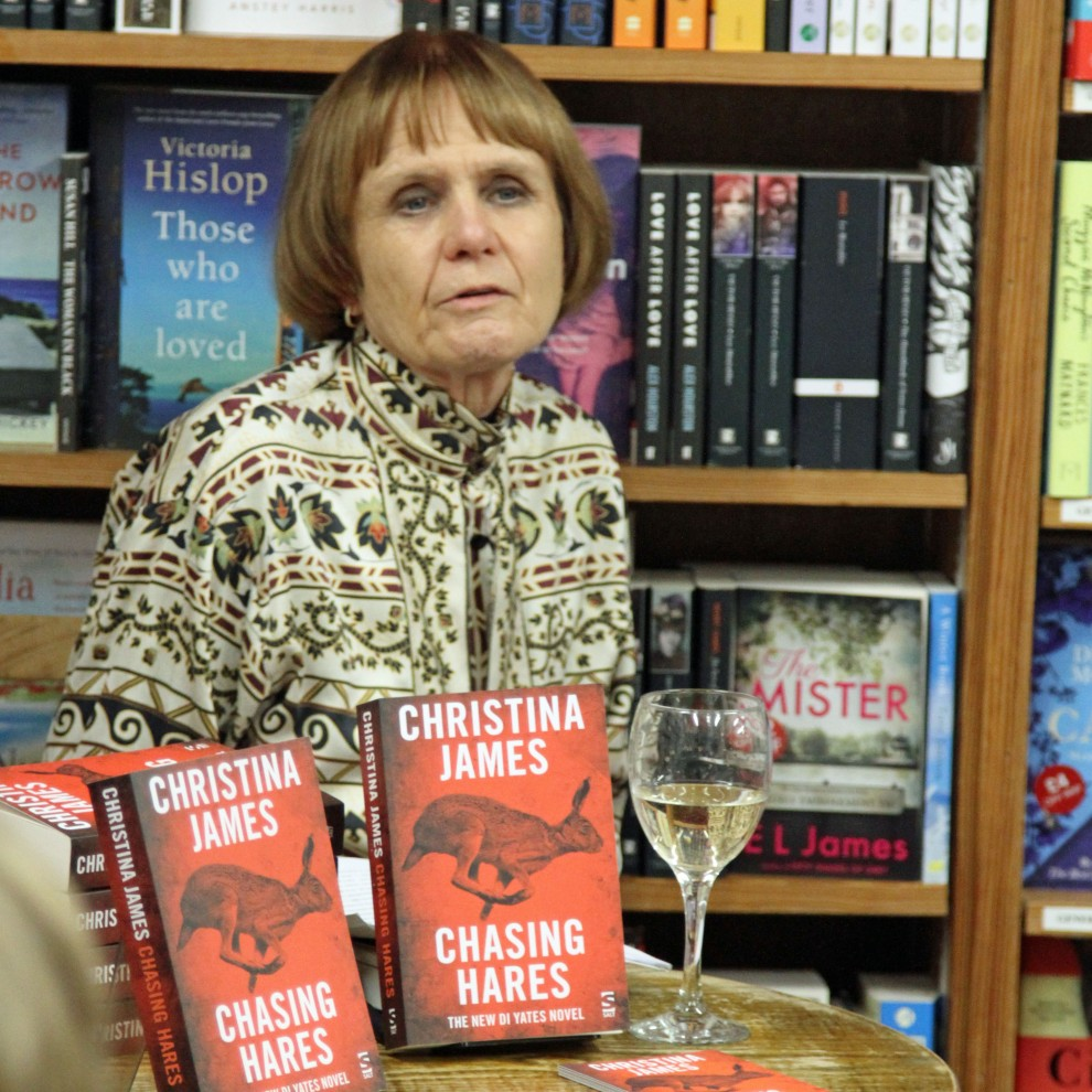 Christina James, speaking at the evening launch of 'Chasing Hares', at Bookmark